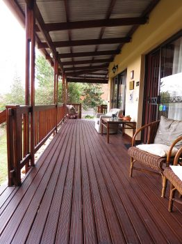 wooden deck shared by rooms 1 & 2, reception between the two.
