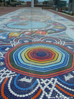 Mosaic artwork on Route 67 at the Donkin Reserve.