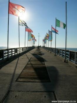 World Cup Soccer 2010 flags fly on Shark Rock Pier.