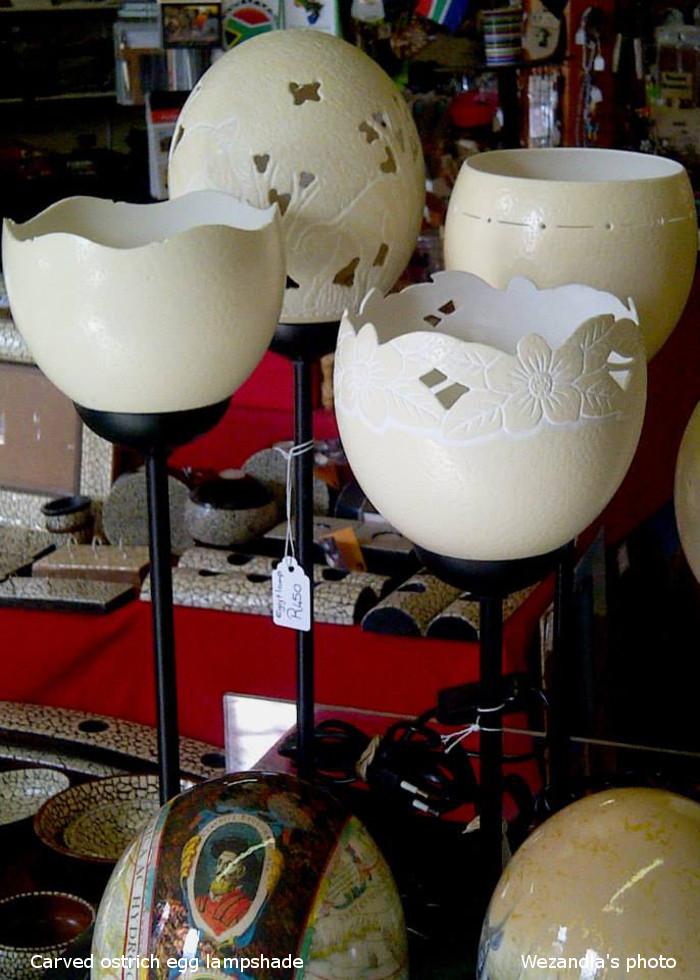 carved ostrich egg lampshades